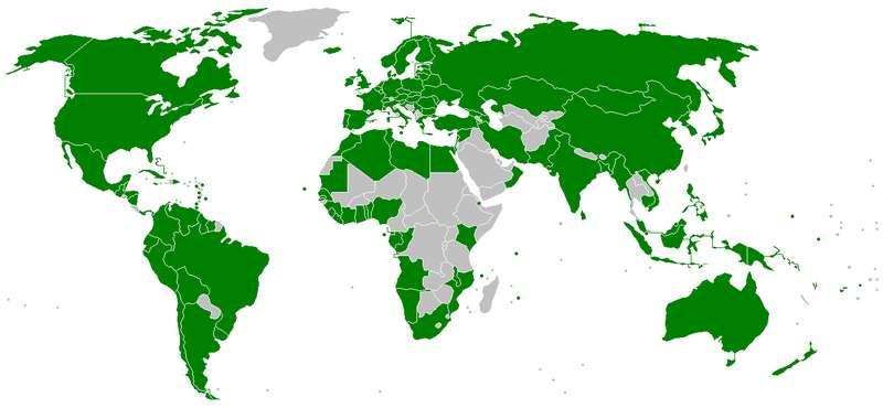 Les pays signataires de la Convention Marpol 1973/1978 en 2008. © Jrockley, Wikimedia domaine public