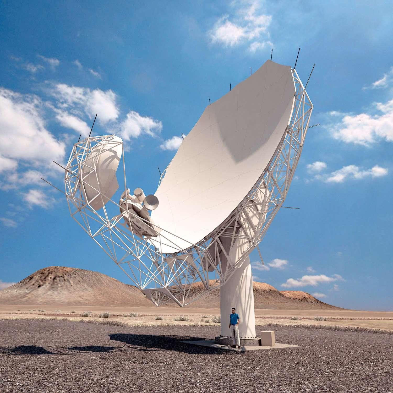 Vue d'artiste d'une des 64 antennes du réseau MeerKAT. Ce réseau est l'un des précurseurs du futur Square Kilometre Array (SKA). © Projet MeerKAT