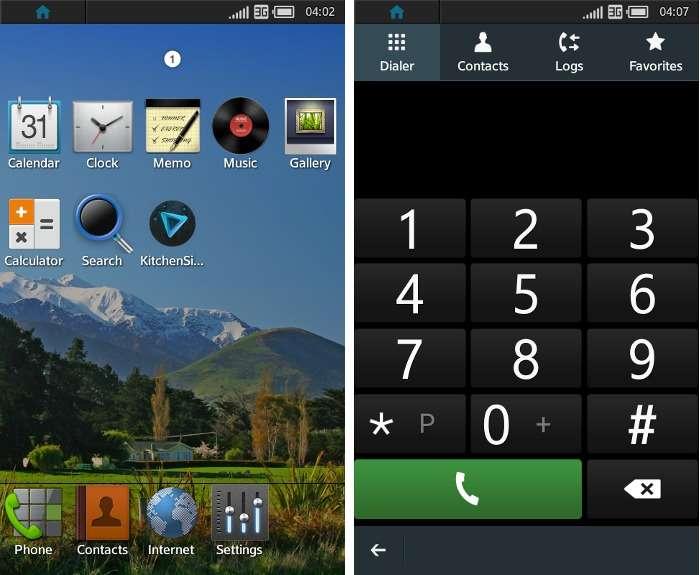 Captures d'écran de Tizen dans sa version 1.0. Tizen est un système d'exploitation open source multiplateforme, conçu pour un usage sur smartphones, tablettes, TV connectées et équipements automobiles. © DR
