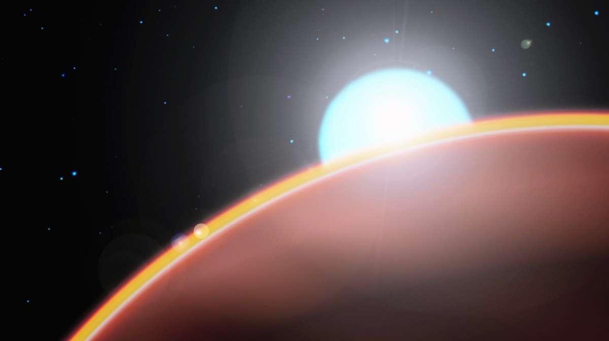 Remarquée en 2006, WASP-33b est une des exoplanètes les plus chaudes jamais découvertes. Quatre fois et demie plus massive que Jupiter, elle gravite autour de son étoile à seulement trois millions de kilomètres. © Nasa, Esa