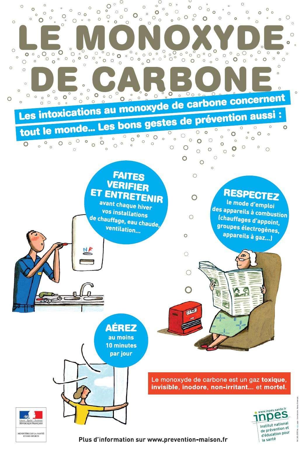 Des moyens de prévention existent pour éviter les intoxications au monoxyde de carbone. © INPES