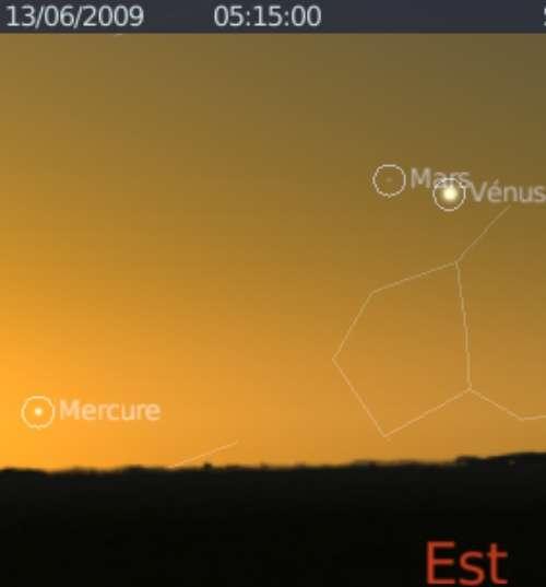 Elongation maximale de Mercure à l'ouest du Soleil