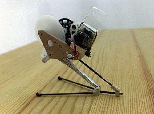 Le robot sauteur présenté à Pasadena. Crédit EPFL