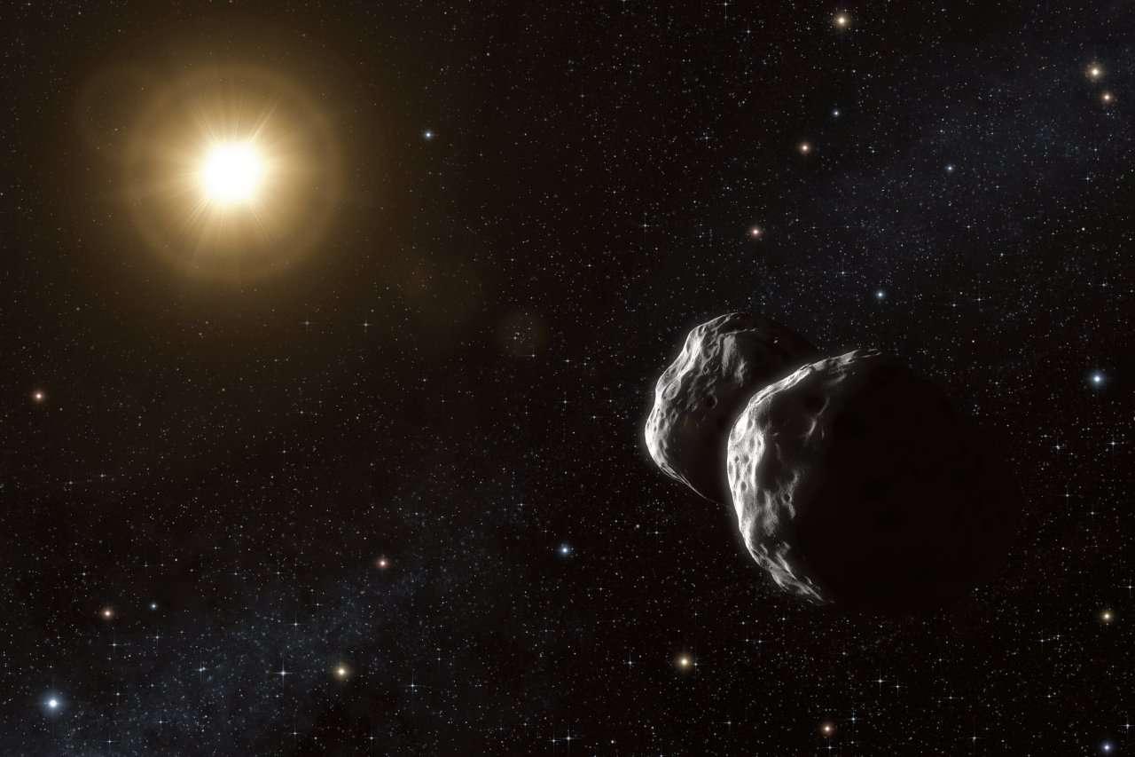Une vue d'artiste de la probable forme de l'astéroïde 234 Barbara. Crédit : ESO/L. Calçada