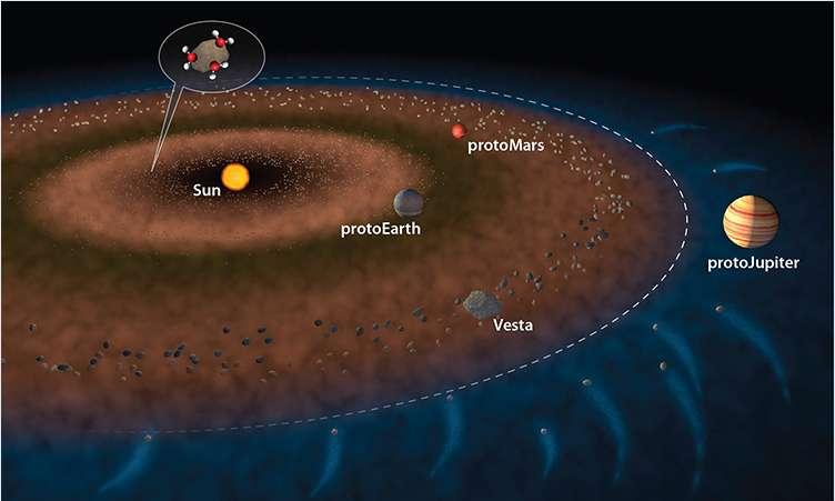 Une illustration du Système solaire interne, quelques millions d'années après la naissance du Soleil. Les pointillés marquent la ligne des glaces au-delà de laquelle la température garantit une stabilité des corps glacés. Les origines de l'eau sur Terre seraient en partie liées aux chondrites carbonées, constituées de poussières collées aux molécules d'eau, et bousculées gravitationnellement par la proto-Jupiter. La deuxième possibilité suggère que la Terre en formation fut arrosée très tôt de chondrites carbonées. © Jack Cook, Woods Hole Oceanographic Institution