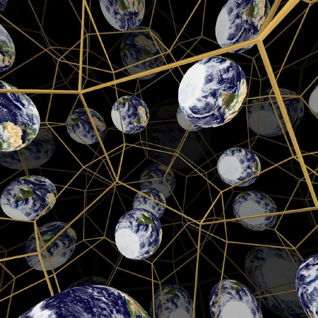 Dans le modèle cosmologique proposé par Jean-Pierre Luminet et ses collègues, l'espace est topologiquement compliqué et peut conduire à des mirages comme dans une pièce tapissée de miroirs. C'est ce qu'illustre ce dessin d'artiste avec la Terre enfermée dans un espace fini décrit par le dodécaèdre de Poincaré. © Jeff Weeks, obspm