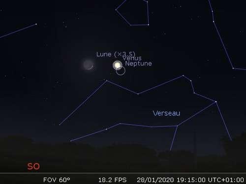 La Lune en rapprochement avec Mercure et Neptune