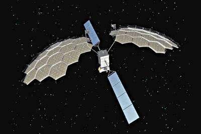 Le futur satellite ETS-8 en orbite (vue d'artiste)
