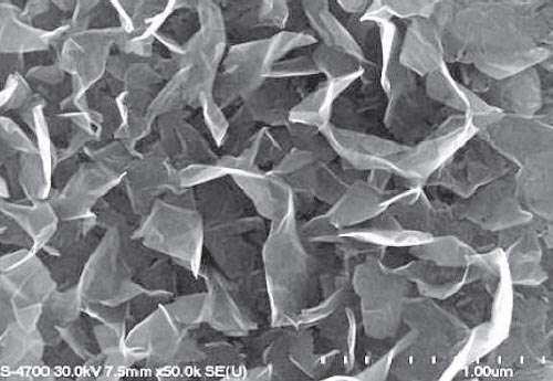 La surface des électrodes recouvertes de graphène du supercondensateur observée au microscope électronique. Crédit : J Miller