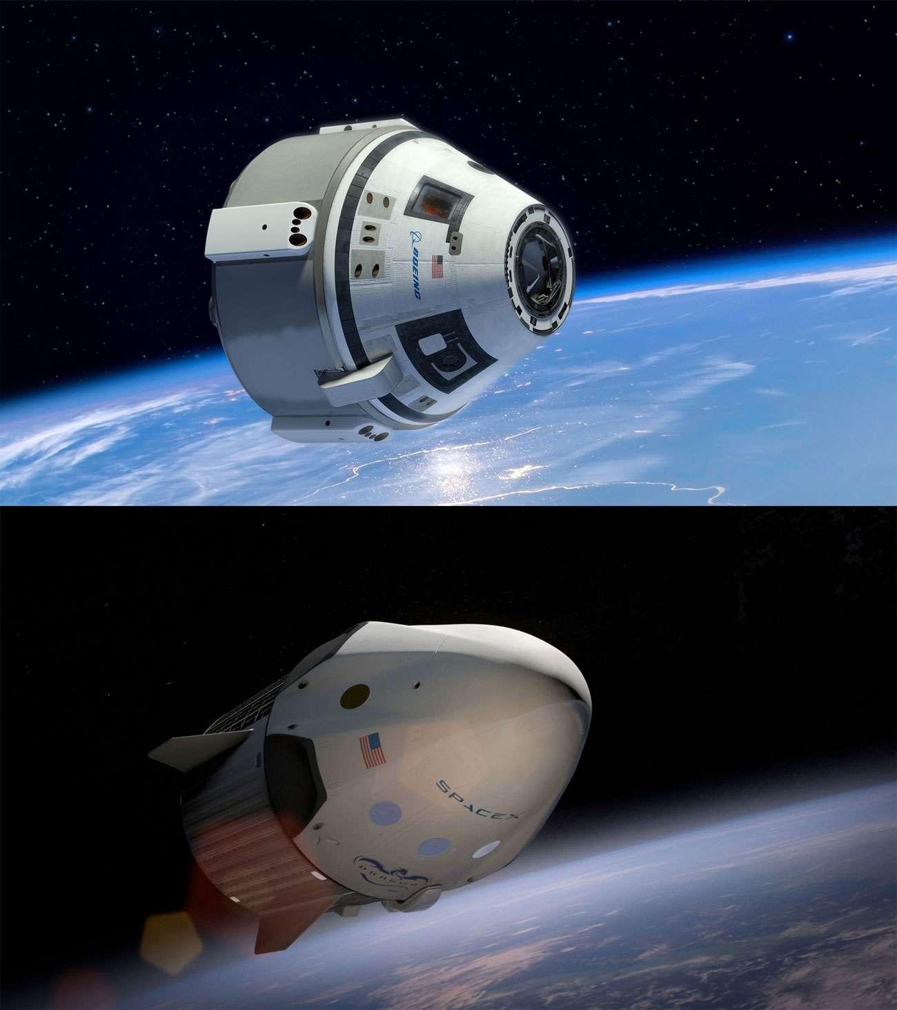 Les deux premiers vaisseaux spatiaux privés capables de transporter des astronautes vers la Station spatiale internationale (ISS). En haut, le CST-100 de Boeing et, en-dessous, la version habitée de la capsule Dragon de SpaceX.