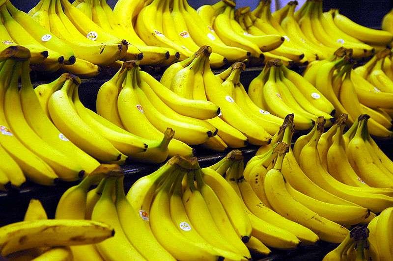 Les bananes les plus courantes en France sont longues et jaunes. © Wikimedia Commons