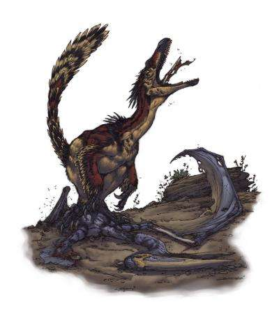 Cette représentation graphique d'un vélociraptor se nourrissant d'un ptérosaure est l'œuvre de Brett Booth. Le vélociraptor appartient à la famille de dromaeosauridés et partage de nombreux caractères avec les oiseaux actuels (dont les plumes). © Brett Booth