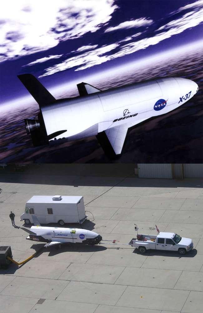 L'X-37B est un projet d'avion spatial sans pilote basé sur le programme X-37 de la Nasa qui devait servir de base au successeur de la navette spatiale. Crédit Boeing
