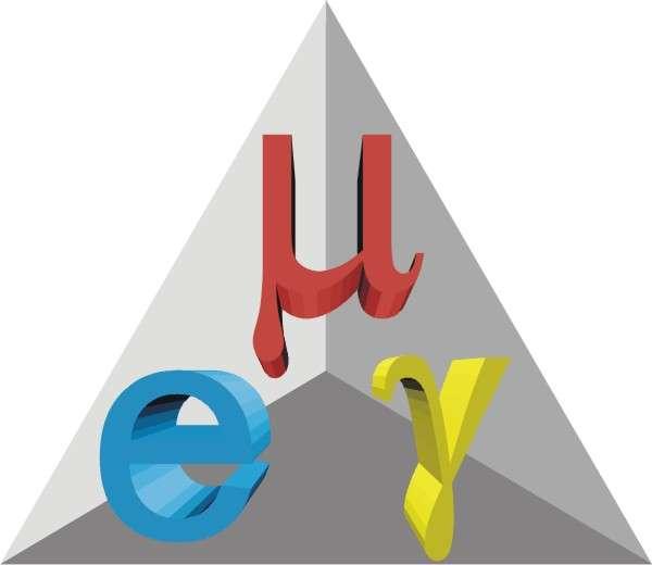 Le logo de l'expérience MEG pour Muon (rouge) Electron(bleu) Gamma. © Paul Scherrer Institut
