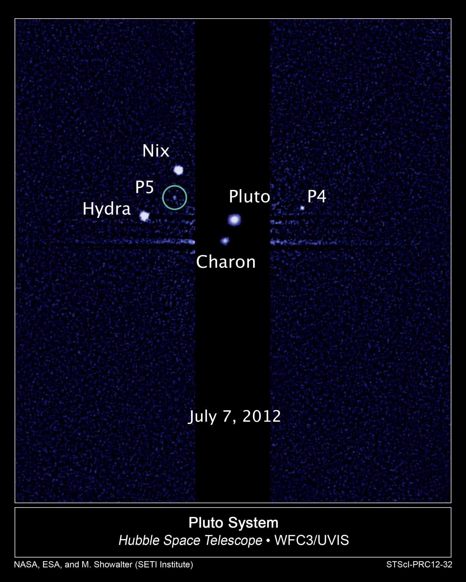 P 5 est le cinquième satellite découvert autour de la lointaine Pluton. © Nasa/Esa/M. Showalter, Seti Institute