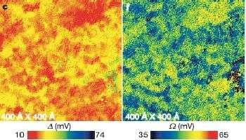 Des distributions spatiales d'énergie de création de paire (à gauche) et d'énergie vibratoire (à droite) qui sont semblables, montrent un lien entre les deux phénomènes au sein d'un supraconducteur à haute température.