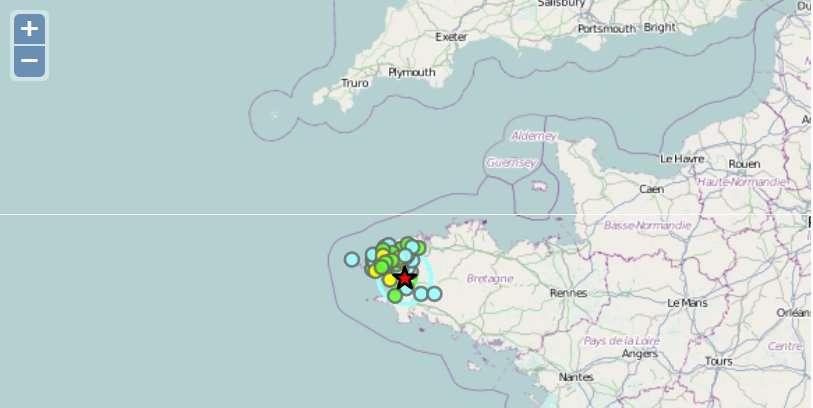 Dans la nuit du 11 au 12 décembre, deux séismes de faible magnitude sont survenus dans le Finistère. La secousse a aussi atteint Internet... L'information circule sur les réseaux sociaux et les témoignages arrivent au Bureau central sismologique français, à Strasbourg, qui en dresse la cartographie et la publie sur le site France Séisme.fr. © BCSF, France Séisme