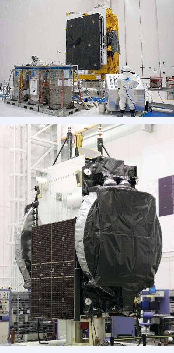 Pour son cinquième lancement de l'année, une Ariane 5 lancera les satellites de télécommunications Arabsat-5C (en haut) et SES-2. © Astrium (Arabsat-5C)/Orbital Sciences (SES-2)