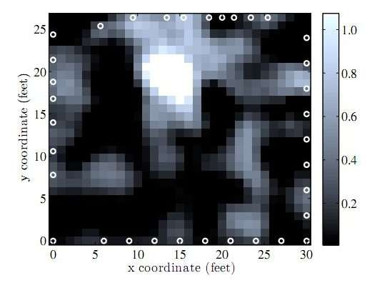 Image obtenue après analyse des ondes radio, la masse blanche est un homme en mouvement dans la pièce. © University of Utah