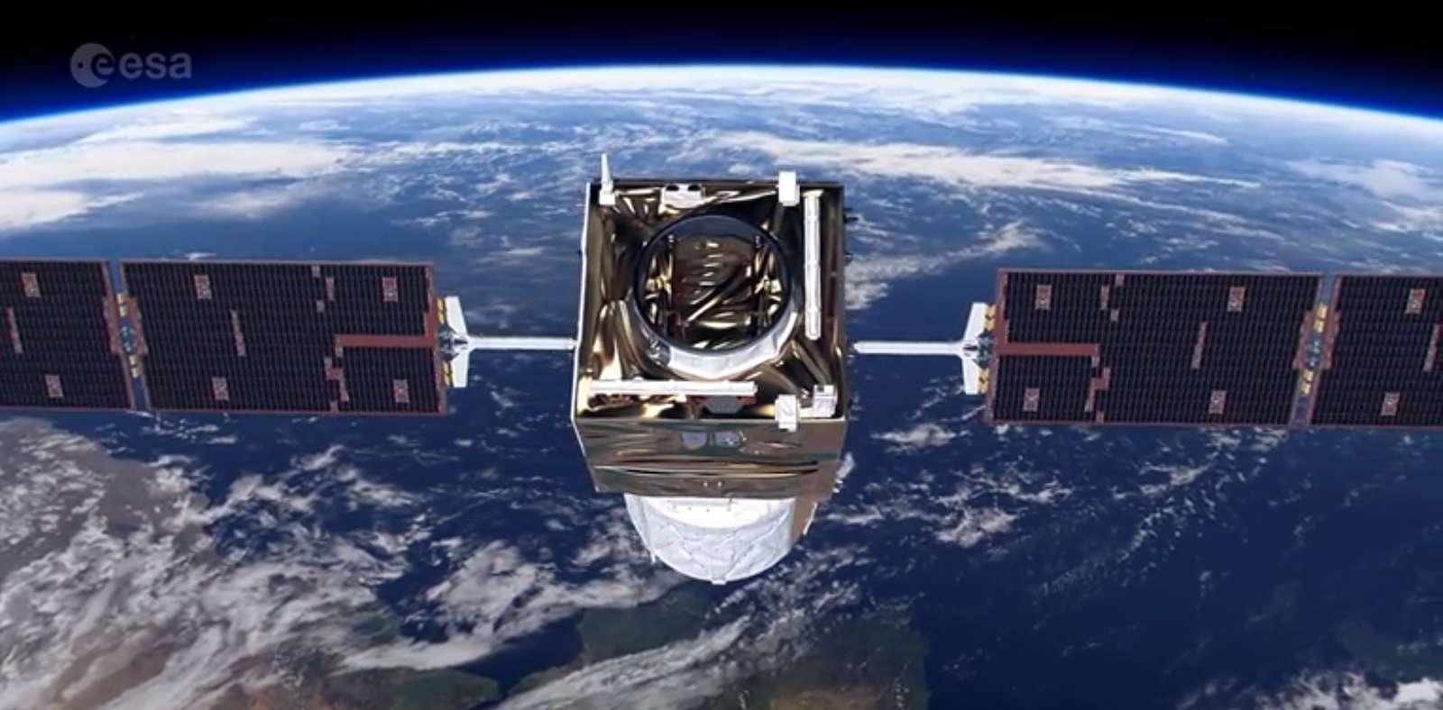 Le satellite Aeolus a dû effectuer une manœuvre d'évitement en raison d'un risque de collision avec un autre satellite de la constellation Starlink. © ESA