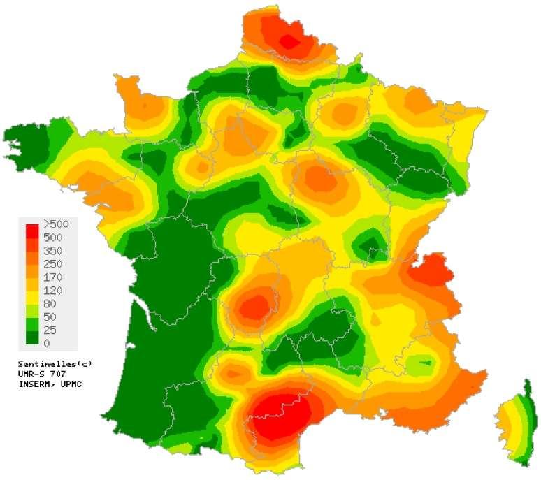 Carte d'interpolation spatiale des données basée sur les incidences départementales pour la semaine 37 (du lundi 7 au dimanche 13 septembre). © Réseau Sentinelles / INVS