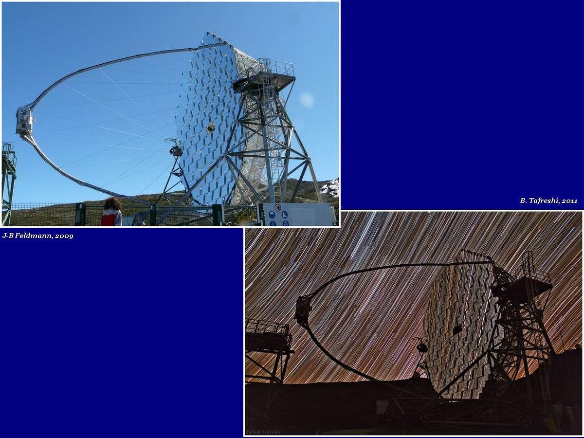 Le télescope Magic aux Canaries dispose désormais d'une caméra ultrarapide pour enregistrer les sursauts gamma. © J.-B. Feldmann/B. Tafreshi