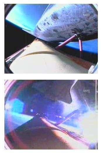 Ascension de la navette, et séparation vues depuis une caméra fixée sur le réservoir ventral d'Atlantis. NasaTV.