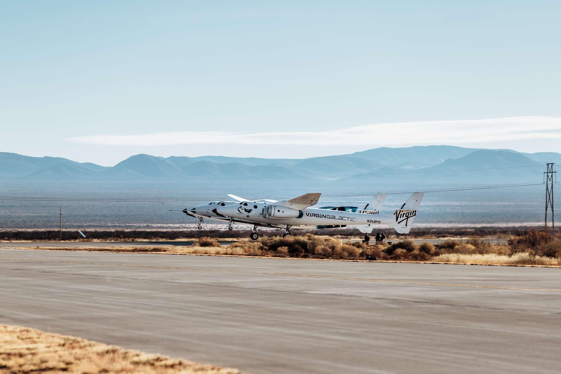 Virgin Galactic a réussi son vol d'essai habité suborbital depuis sa nouvelle base situé au Nouveau-Mexique. © Virgin Galactic