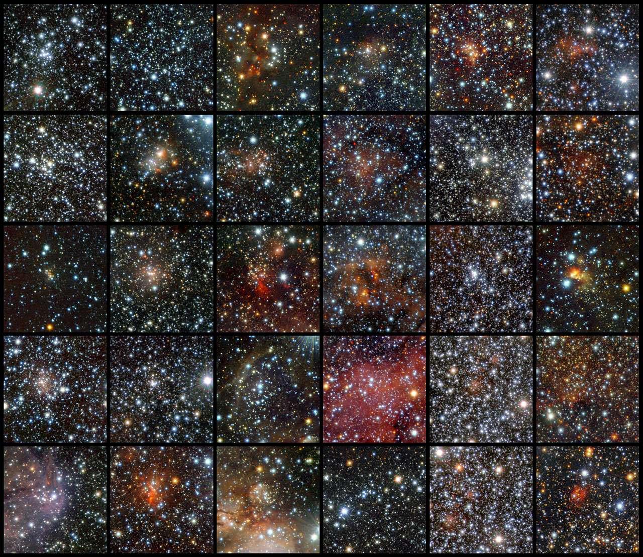 Mosaïque d'images représentant les amas d'étoiles découverts par le télescope Vista. © Eso/J. Borissova