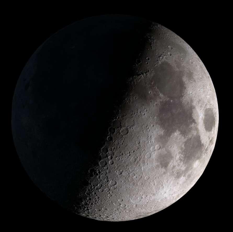 Un quartier de Lune reconstitué à partir des images fournies par la sonde LRO. Les instruments astronomiques ont permi de découvrir le phénomène de libration lunaire. © Nasa/Goddard Space Flight Center Scientific Visualization Studio