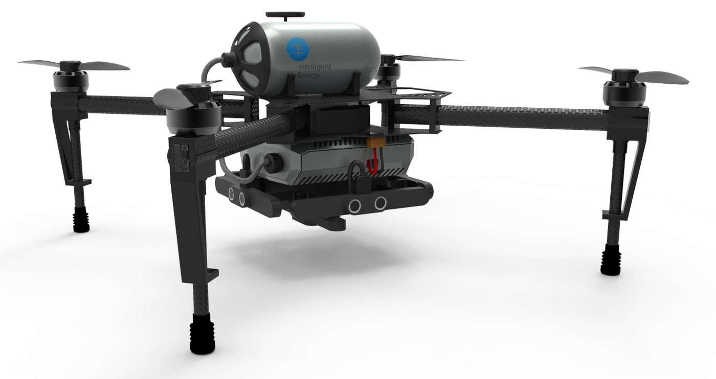 La société britannique Intelligent Energy dit avoir mis au point une pile à hydrogène pour drone qui offrirait « plusieurs heures » d'autonomie et pourrait être rechargée en deux minutes. © Intelligent Energy