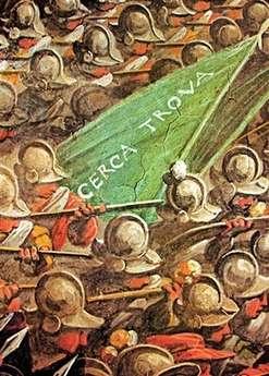 """Un détail de la fresque de Vasari avec le fameux """"cerce trova"""" indiquant peut-être la fresque perdue de Léonard"""