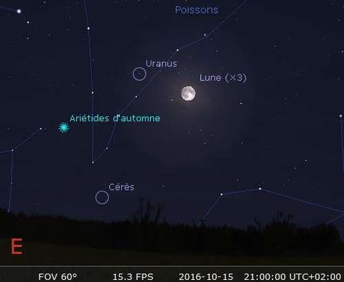Environs 1 h 30 après le coucher du Soleil, localisez la Lune presque pleine au-dessus de l'horizon est vers 19 h 00 TU. Avec une paire de jumelles ou un instrument, vous trouverez à sa gauche légèrement plus haut, la planète Uranus. Celle-ci pourrait être visible à l'oeil nu sous un ciel dépourvu de pollution lumineuse. Uranus est à l'opposition lorsqu'elle est alignée avec la Terre et le Soleil. C'est ce qui se produira ce 15 octobre. Elle sera dans les meilleures conditions pour l'observation.