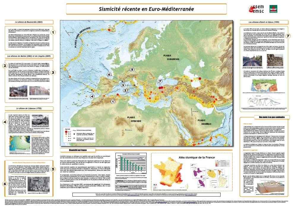 La carte de la sismicité en Europe, disponible sur le site de la Fondation Maif. On y apprendra notamment la différence entre aléa et risque, et entre magnitude et intensité. © CSEM/Fondation Maif