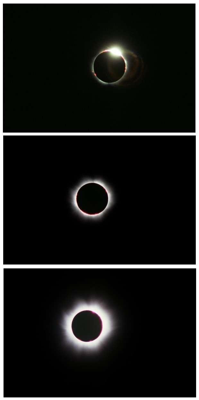Trois images prises successivement pendant la phase totale. Elles montrent le dernier rayon de lumière solaire puis l'apparition des protubérances et de la couronne. Crédit J-B Feldmann