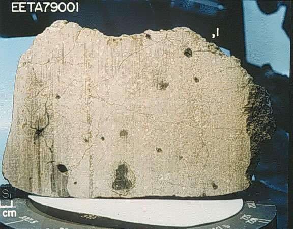 Des météorites particulières et très rares, les SNC (shergotite, nakhlite, chassignite), viennent de Mars. Des analyses de gaz contenus dans l'une de ces météorites, une shergotite nommée EETA 79001, ont confirmé cette origine. On a utilisé ces SNC pour contraindre des modèles de la Planète rouge. © Nasa