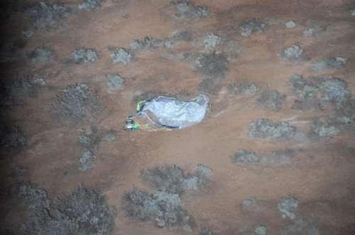 La capsule larguée par la sonde Hayabusa après son atterrissage dans la Woomera Prohibited Area. © Jaxa