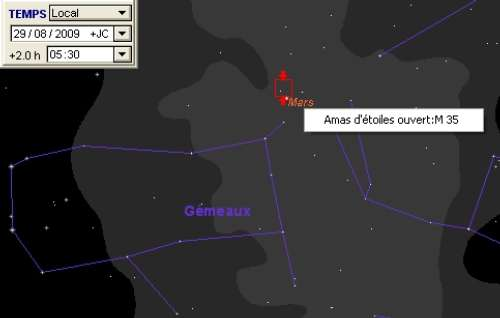 La planète Mars est en rapprochement avec l'amas ouvert M35