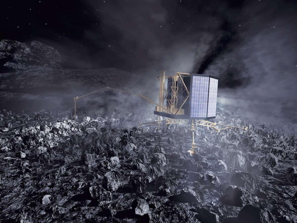 Le robot Philae est resté muet depuis la dernière transmission du 9 juillet. Il est ici illustré en activité sur le noyau de la comète 67P/Churyumov-Gerasimenko. © Esa, ATG medialab