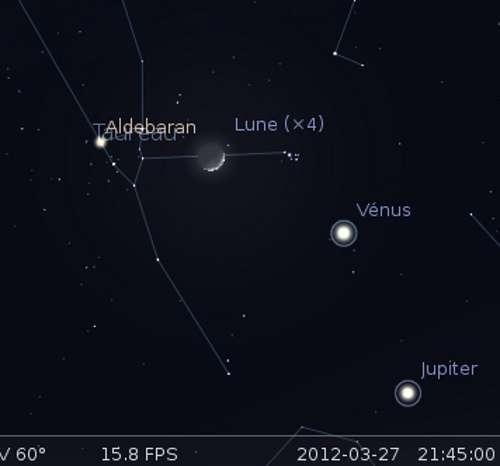La Lune en rapprochement avec les Pléiades, et plus grande élongation de Vénus