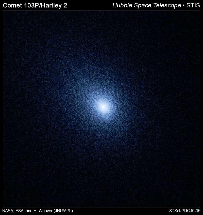 L'homogénéité de la coma de Hartley 2, vue ici par le télescope spatial Hubble, prouve qu'il s'agit d'une jeune comète très active. © Nasa/Esa/H. Weawer