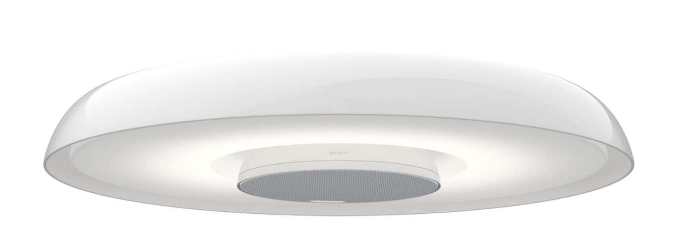Baptisée Multifunctional light, la lampe connectée de Sony est une petite centrale domotique qui peut non seulement éclairer, mais aussi contrôler l'air conditionné, l'allumage de la télévision, faire office détecteur de présence, de haut-parleur et d'interphone. © Sony