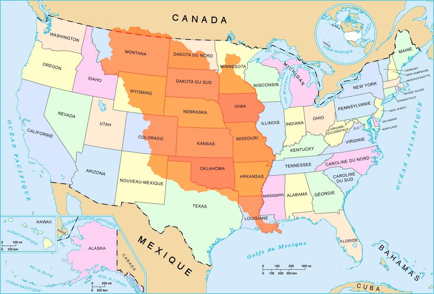 La vente de la Louisiane aux États-Unis, en 1803, concernait un immense territoire (en orange sur la carte), appartenant alors à la France. © Wikigraphists, Wikimedia Commons, cc by sa 3.0