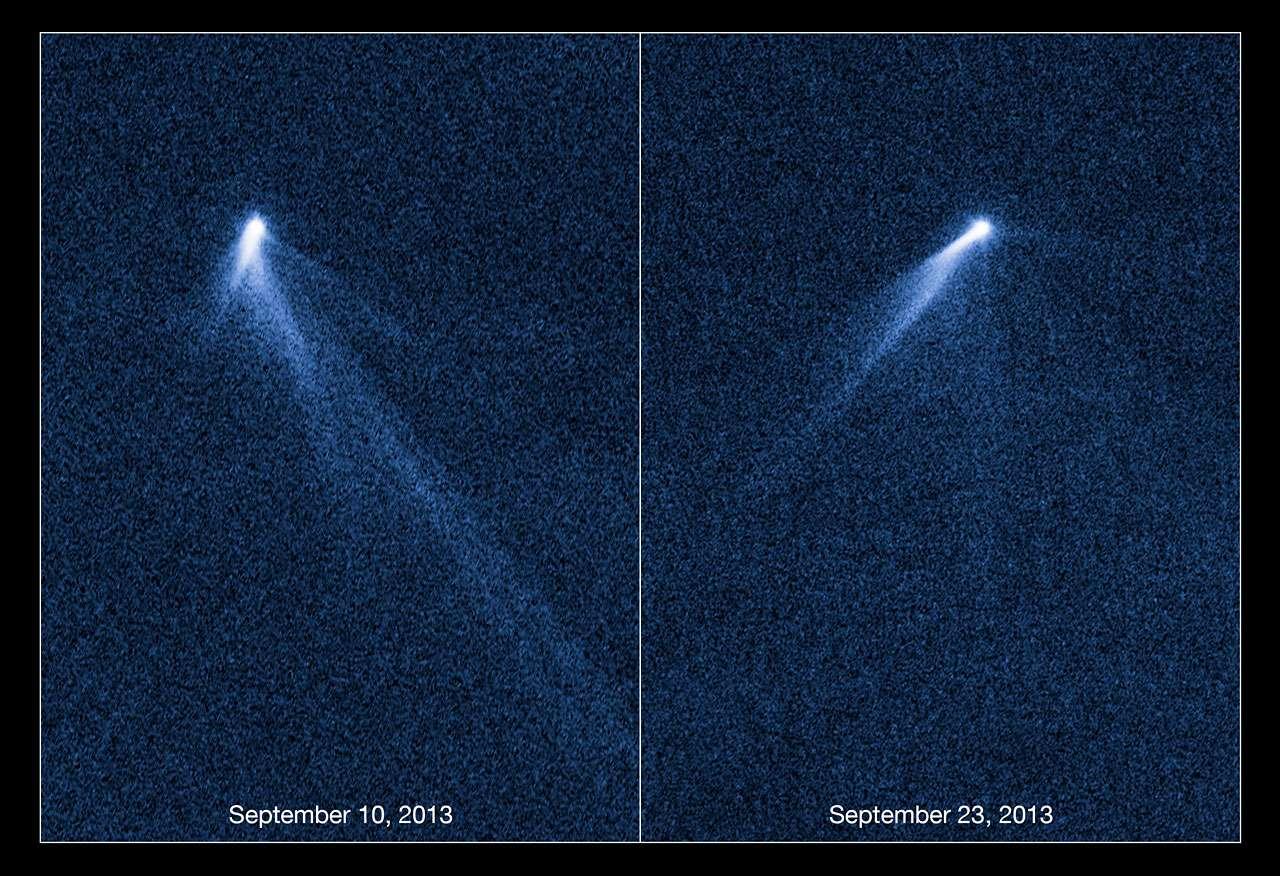 Les observations détaillées d'Hubble, à 13 jours d'intervalle, ont révélé que l'astéroïde P/2013 P5 est en rotation de plus en plus rapide et possède six traînées de poussières. © Nasa, Esa, David Jewitt, UCLA