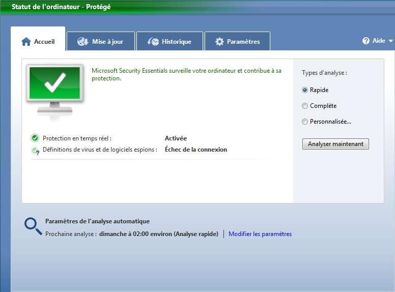 Microsoft Security Essentials, un antivirus gratuit proposé par Microsoft. © Microsoft