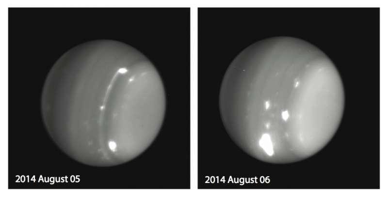 Au cours de la nuit du 5 au 6 août 2014, une équipe d'astronomes emmenée par Imke de Pater a assisté à l'émergence d'une tempête particulièrement lumineuse à la surface d'Uranus. Les clichés ci-dessus ont été réalisés dans le proche infrarouge avec la caméra NIRC2 installée au foyer du télescope de 10 m de diamètre Keck II. L'optique adaptative dont il bénéficie permet d'obtenir des images en haute résolution, souffrant très peu de la turbulence atmosphérique. © Imke de Pater (université de Berkeley), Keck observatory