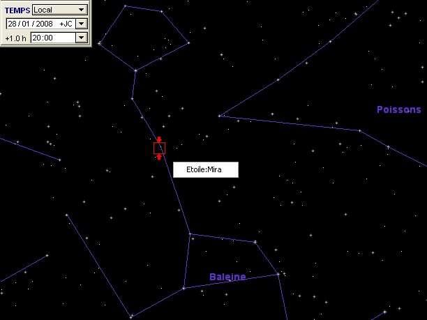 L'étoile Mira est à sa luminosité maximum