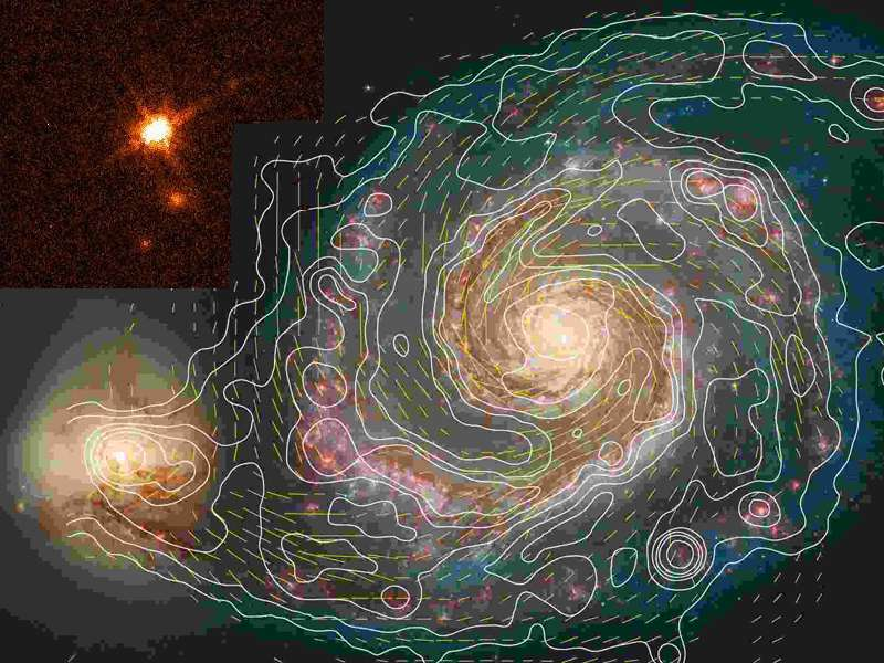 Une carte des intensités du champ magnétique dans une galaxie. Crédit : Max-Planck-Institut für Radioastronomie
