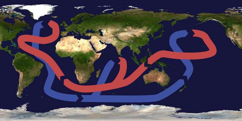 La circulation océanique thermohaline est actionnée par la différence de densité des eaux au niveau du Groenland. La plongée des eaux qui s'ensuit est le moteur du tapis roulant océanique. © Brisbane, Wikimédia CC-by-sa 3.0