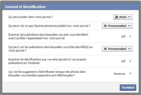 Dans Facebook, pour s'assurer que les messages privés ne s'affichent pas, il faut effectuer un petit réglage. Cliquer en haut à droite d'« Accueil » sur la pointe de flèche dirigée vers le bas.Choisir « Paramètres de confidentialité » dans le menu disponible.Dans la nouvelle page, cliquer sur « Journal et identification ».Dans la boîte de réglages, dérouler le second menu et choisir « Personnalisé ». Dans la boîte de dialogue, sélectionner « Moi uniquement », puis « Enregistrer les modifications ». Faire de même avec le menu situé à droite de « Qui peut voir les publications dans lesquelles vous êtes identifié sur votre journal ? » © Eureka Presse